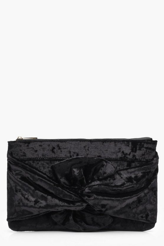 Velvet Bow Clutch Bag