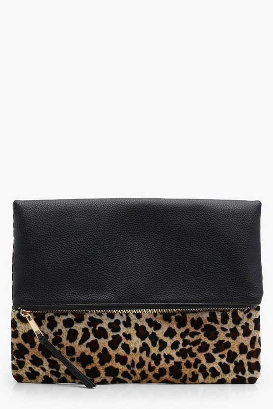 Amy Leopard Contrast Fold Over Clutch