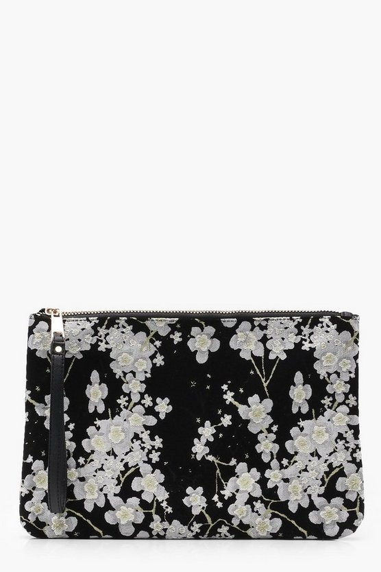 Cherry Blossom Satin Clutch Bag