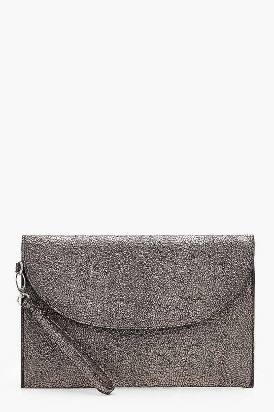Amy Metallic Wristlet Clutch