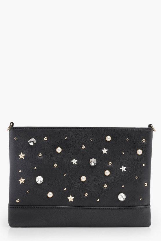 Pearl Stud And Diamante Clutch