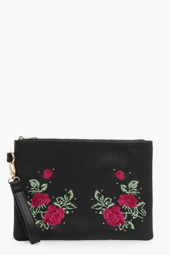 Ivy Embroidery And Stud Zip Top Clutch