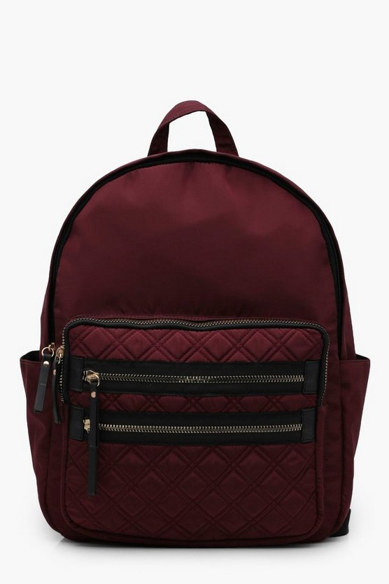 Mia Quilted Pocket Nylon Rucksack