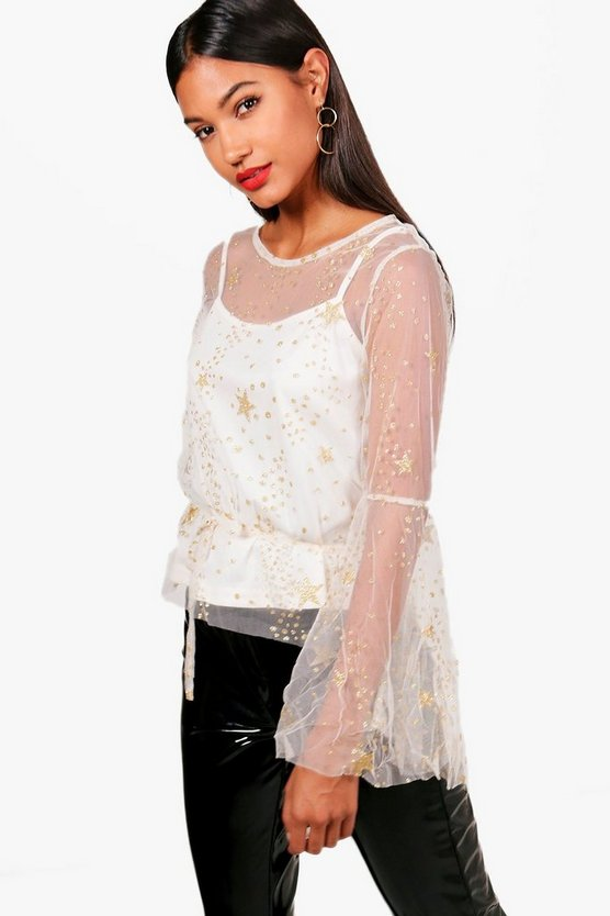 Mica Star Mesh Wide Sleeve Top