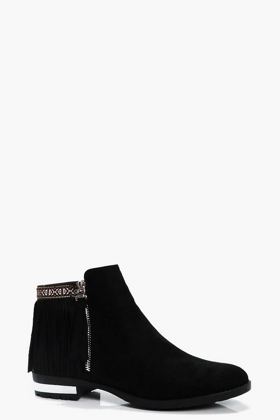 Hope Fringe and Tape Detail Ankle Boot