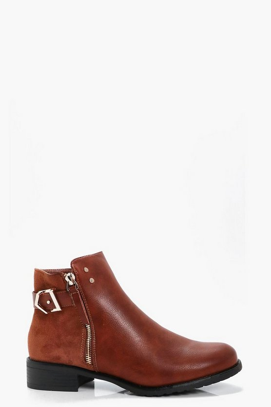 Abbie Zip Side Contrast Fabric Chelsea Boot