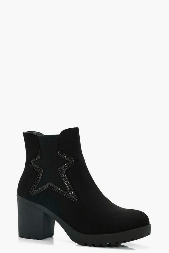 Melissa Star Detail Elastic Cleated Chelsea Boots