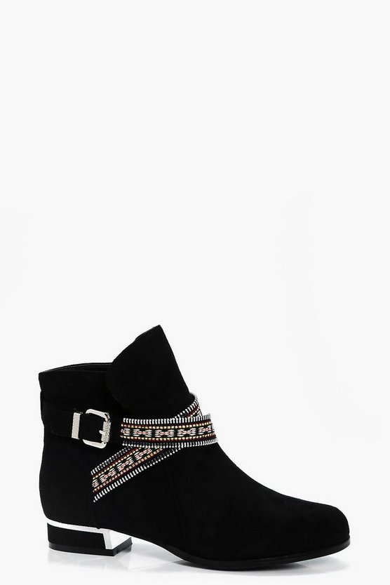 Orla Embroidered Wrap Strap Ankle Boots