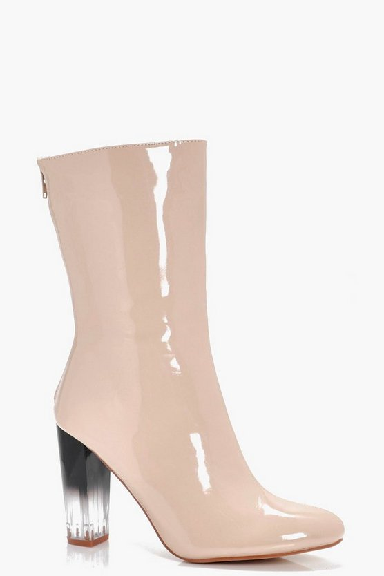 Lena Hi Shine Clear Heel Sock Boot
