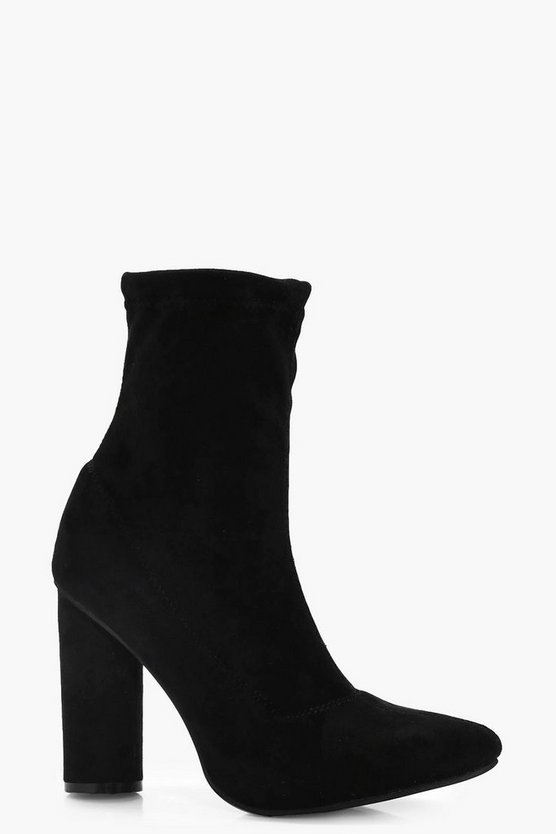 Pointed Toe Cylinder Heel Sock Boots