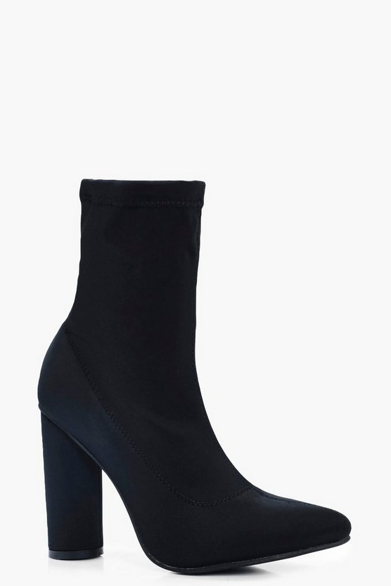 Esther Pointed Toe Cylinder Heel Sock Boots