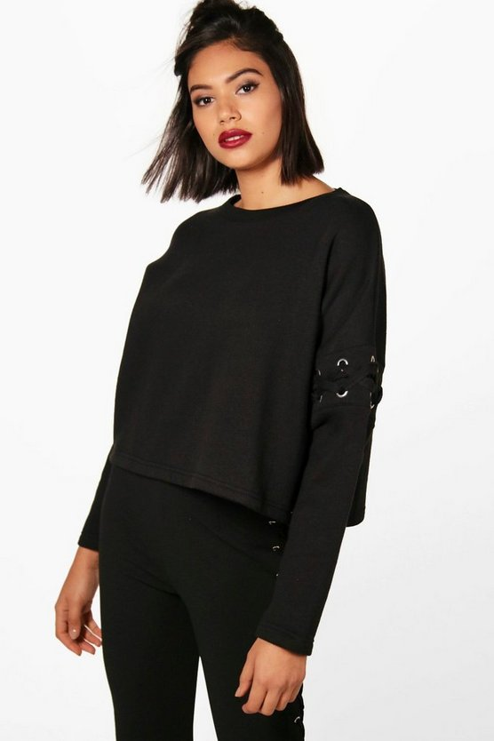 Mia Fit Athleisure Lace Up Sweat