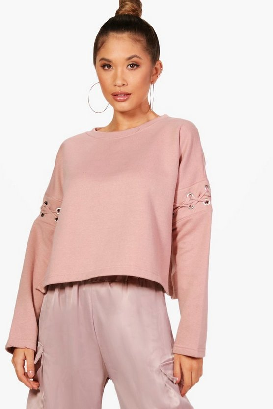 Mia Athleisure Eyelet Lace Up Sweat