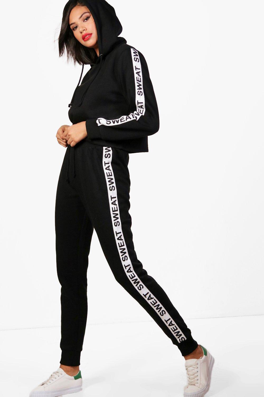 Womens Athleisure Trainingsanzug aus Sweatstoff mit Slogan - schwarz - S, Schwarz - Boohoo.com