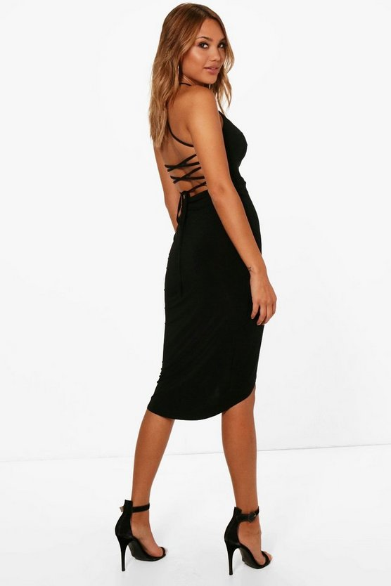 Shay Strappy Back Detail Wrap Midi Dress