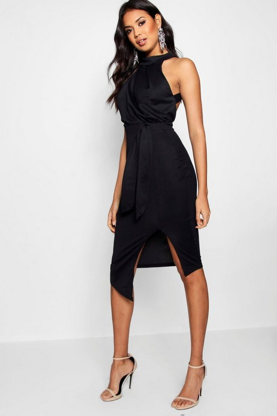 Orla Crepe High Neck Wrap Detail Midi Dress