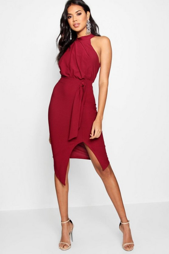 Orla Crepe High Neck Wrap Detail Midi Dress by Boohoo