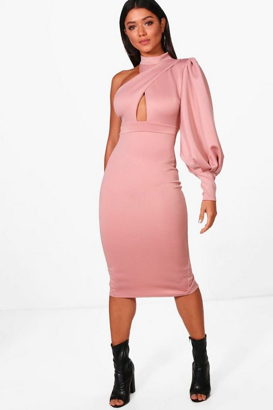 One Shoulder Detail Midi Dress