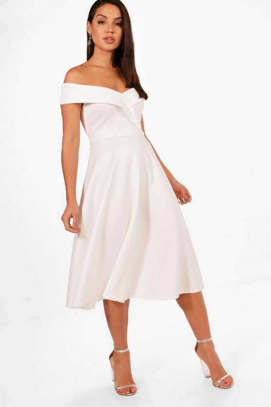 Suri Off the Shoulder Scuba Midi Skater Dress