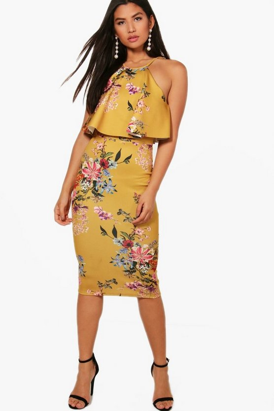 Tiggy Double Layer Floral Midi Dress