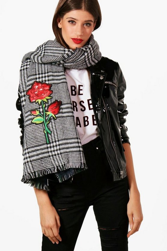 Mia Rose Embroidery Check Scarf