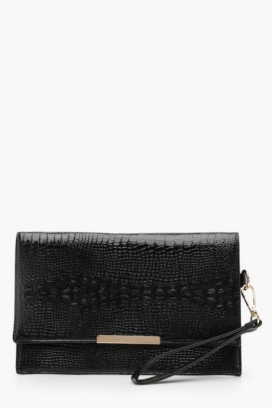 Louisa Patent Mock Croc Flap Clutch