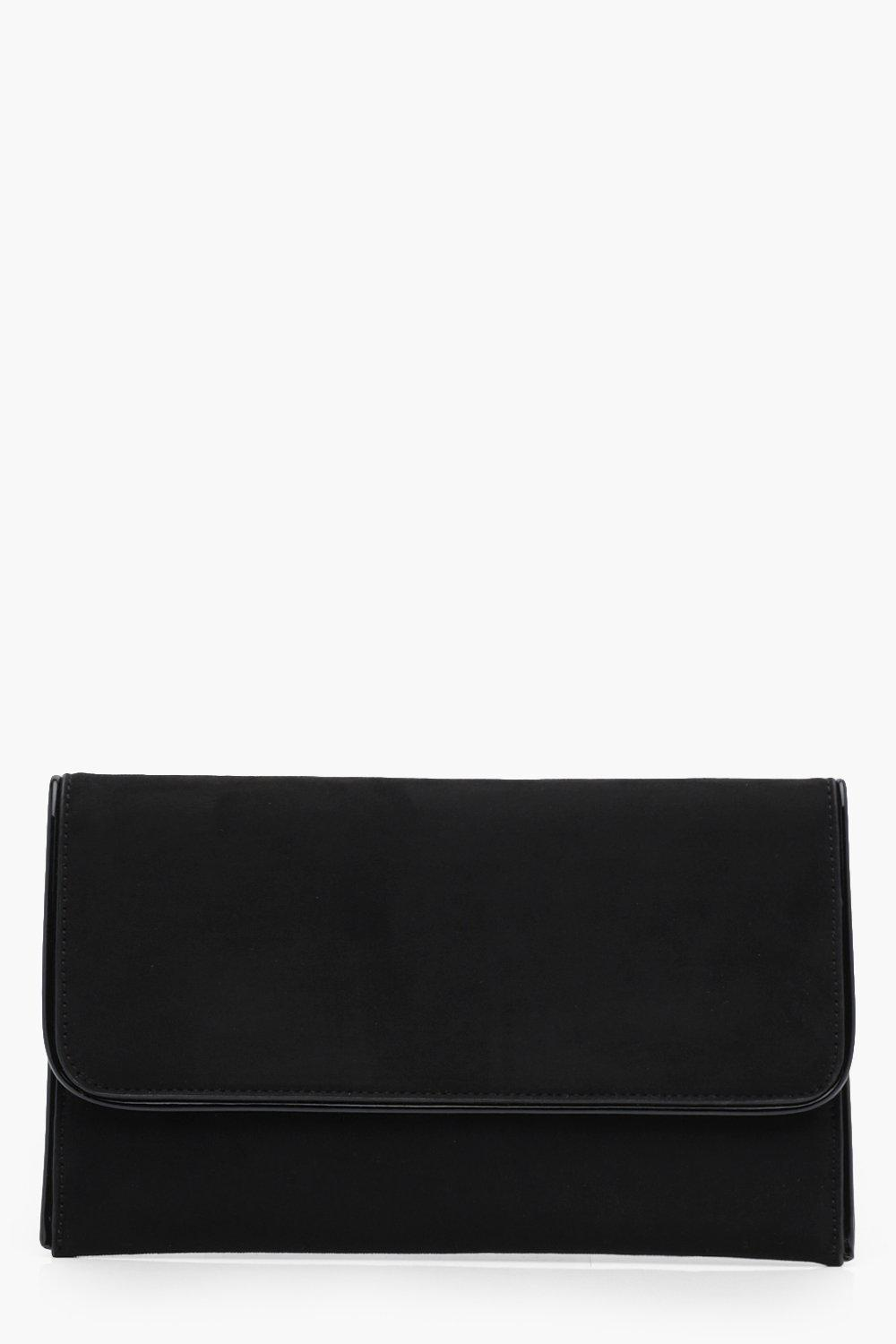Piped Edge Suedette Clutch - black - Emma Piped Ed