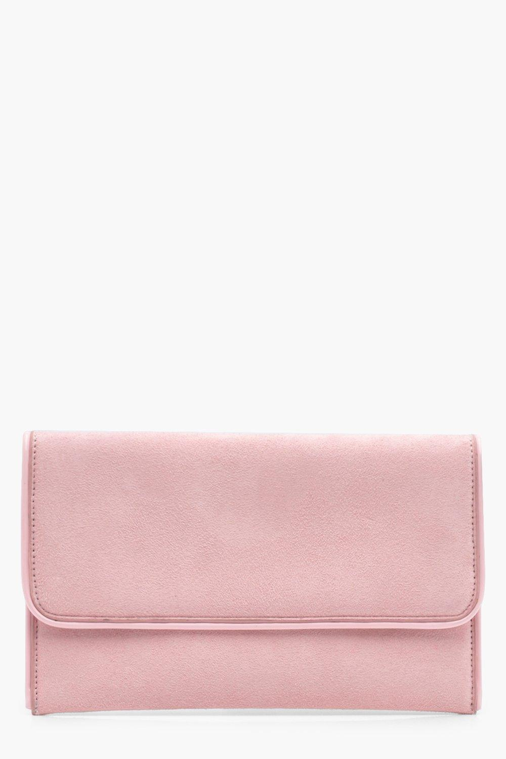 Piped Edge Suedette Clutch - nude - Emma Piped Edg