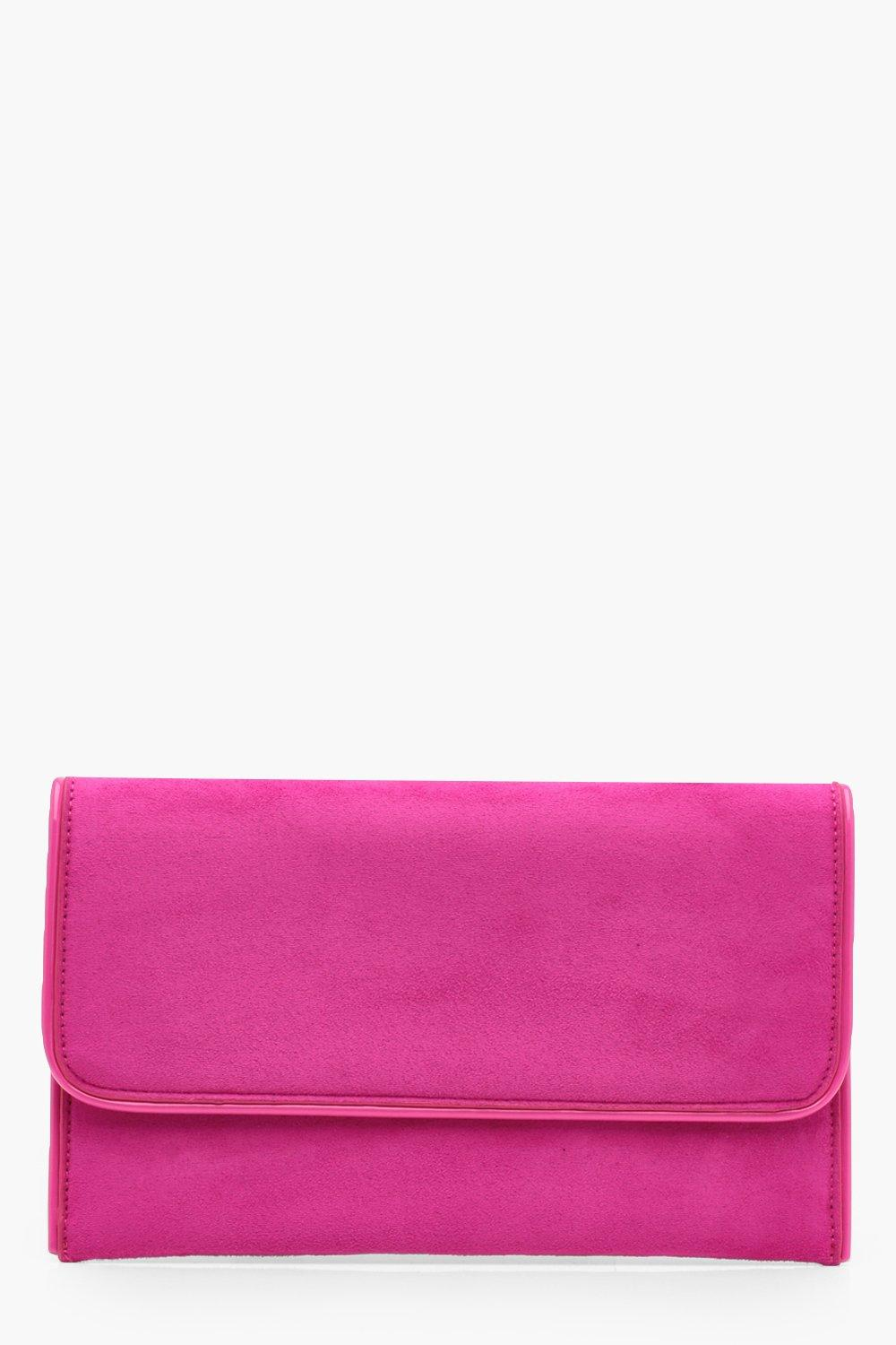 Piped Edge Suedette Clutch - pink - Emma Piped Edg