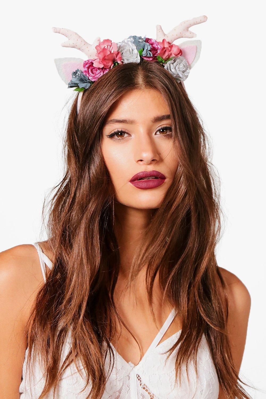 Mythical Deer Floral Headband - pink - Dani Mythic