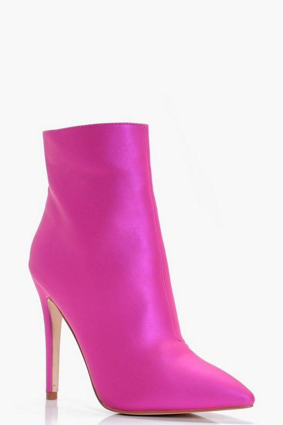 Polly Pearlised Pointed Ankle Sock Boots
