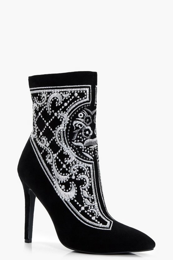 Premium Kara Embroidered Ankle Shoe Boot