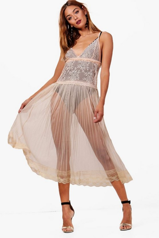 Caitriona Mesh and Lace Sheer Slip Dress