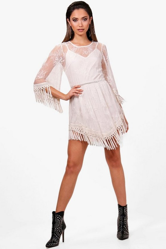 Boutique Fringed Lace Dress
