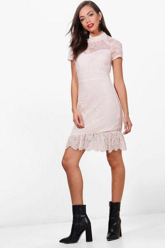 Frill Hem Lace Bodycon Dress