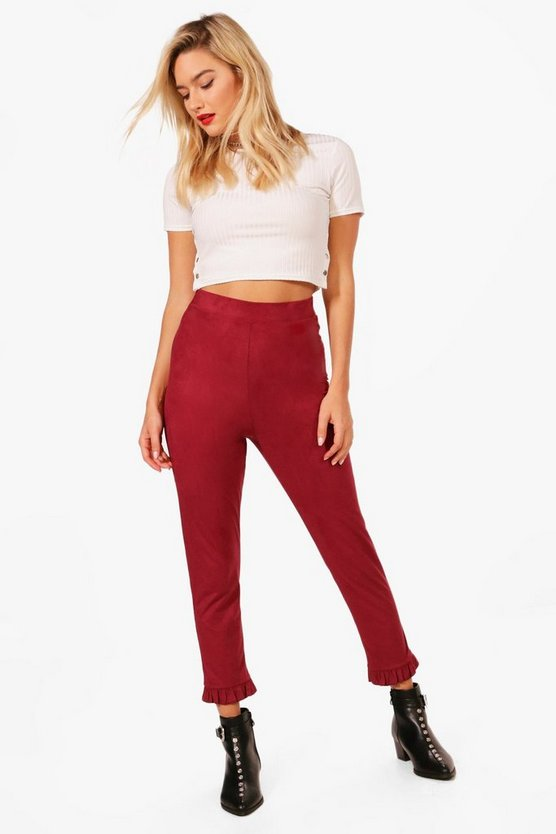 Rosie Suedette Stretch Ruffle Hem Leggings