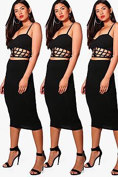 Brea 3er-Pack schlichte Midiröcke aus Jersey - Boohoo.com