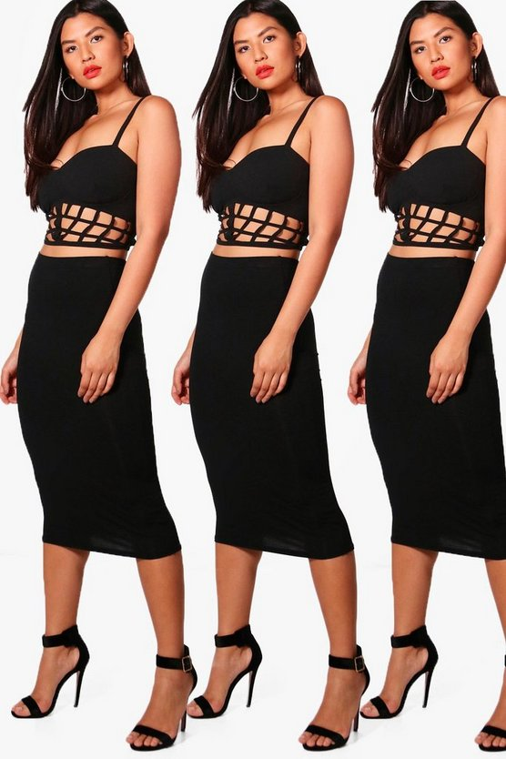 Brea 3 Pack Basic Jersey Midi Skirt