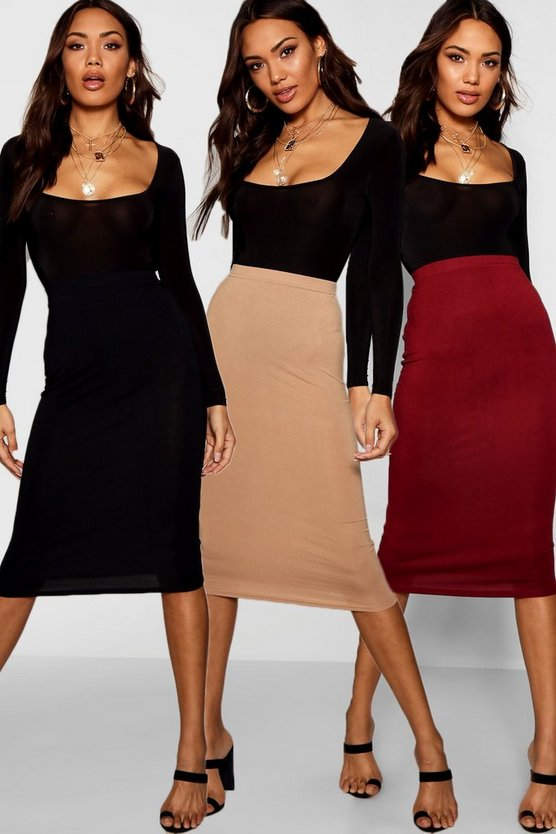 3 Pack Basic Jersey Midi Skirt