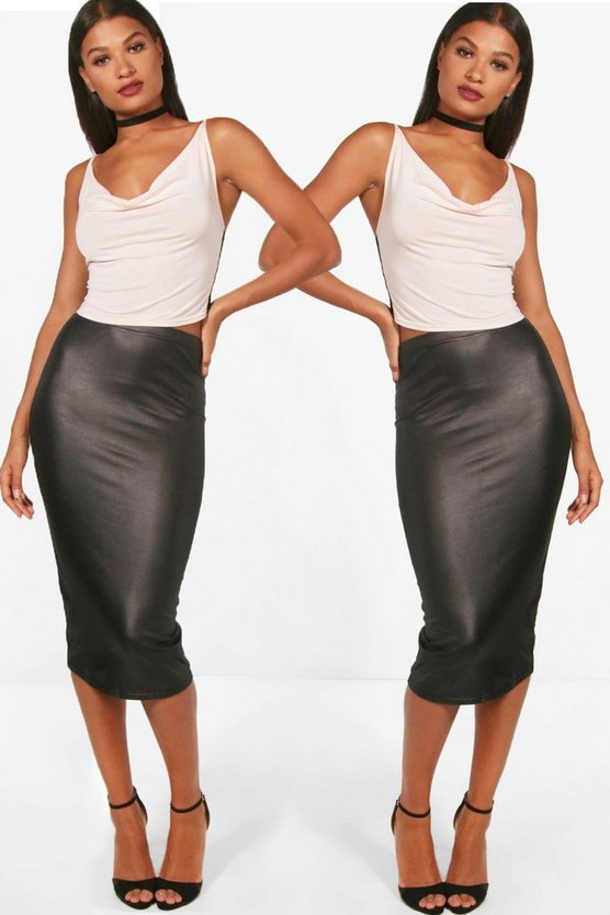Amelia 2 Pack Wet Look Midi Skirt