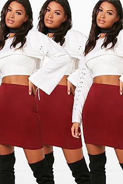 Bella 3er-Pack schlichte Miniröcke aus Jersey - Boohoo.com