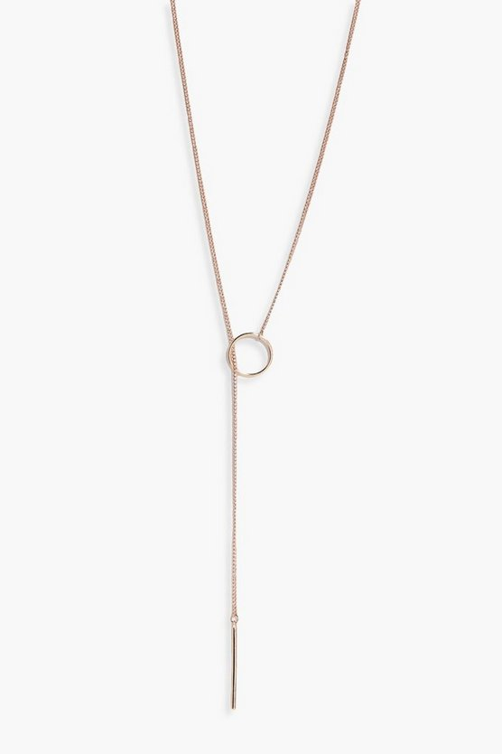 Poppy Circle Loop Plunge Skinny Necklace