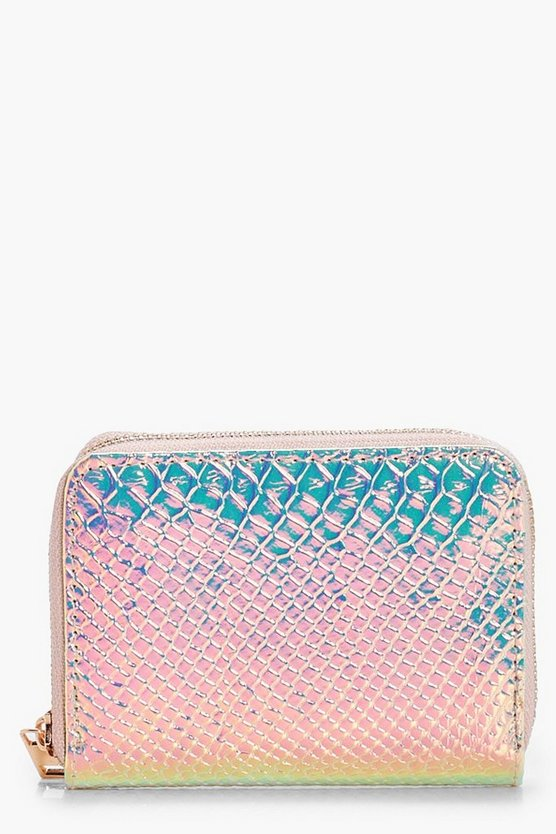 Holographic Faux Snake Purse