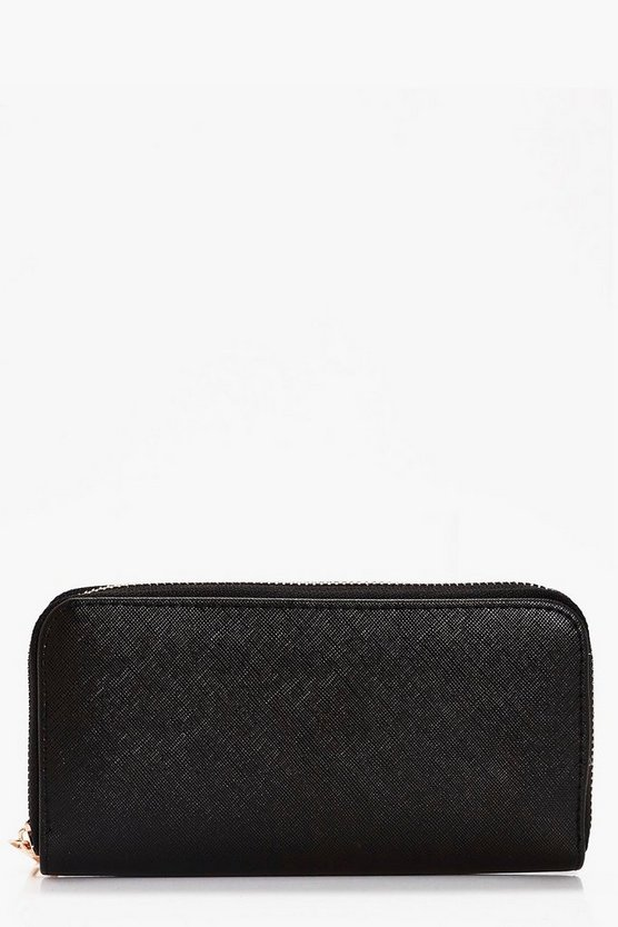 Olivia Crosshatch Zip Around Purse
