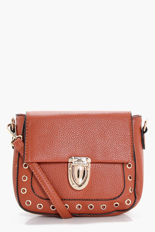 Eyelet Saddle Bag - tan - Lola Eyelet Saddle Bag -