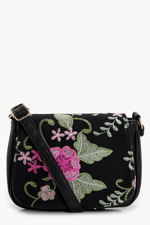 Embroidered Saddle Bag - black - Eva Embroidered S