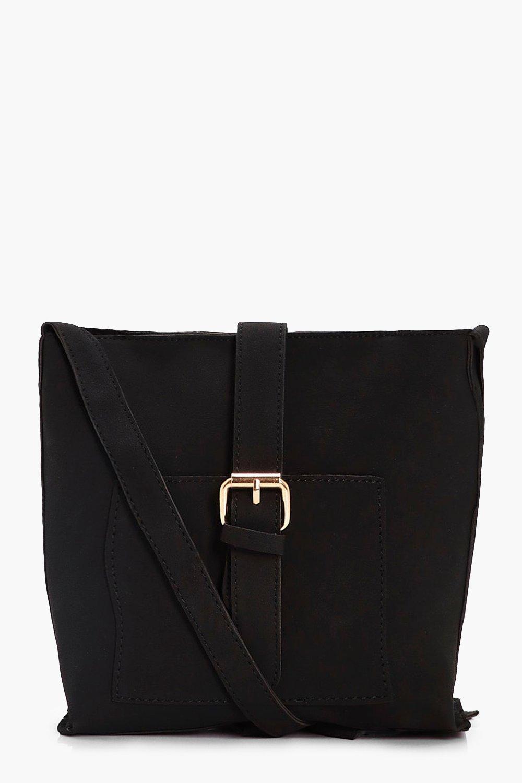 Buckle Strap Cross Body Bag - black - Amy Buckle S