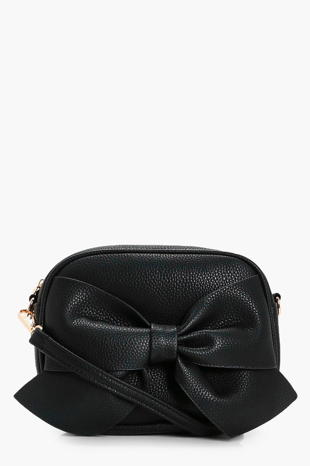 Bow Front Cross Body Bag - black - Millie Bow Fron