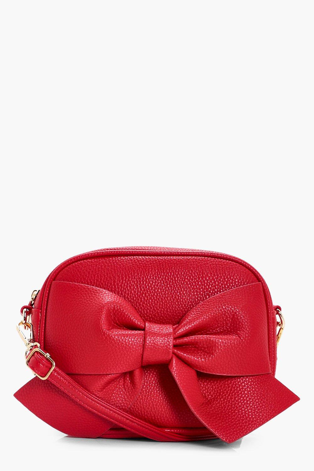 Bow Front Cross Body Bag - red - Millie Bow Front