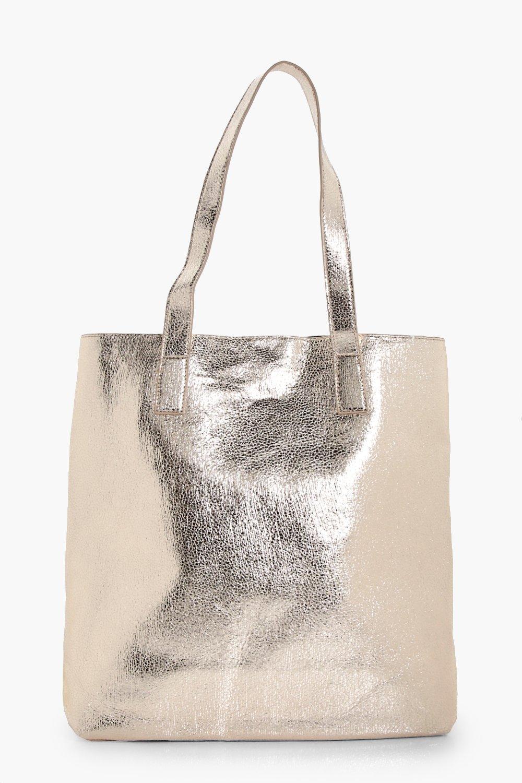 Metallic Textured Shopper Bag - gold - Amy Metalli
